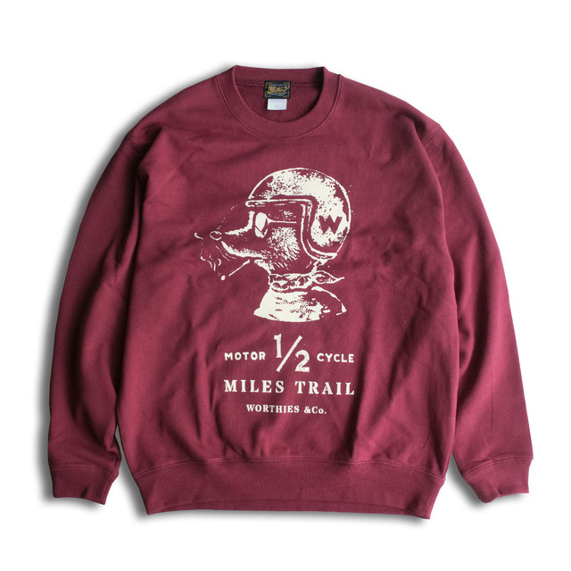 1/2 MILES TRAIL SWEAT SHIRTS BURGUNDY
