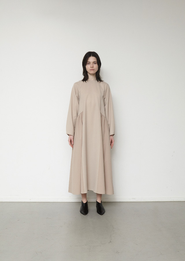 Long sleeve combi flare dress