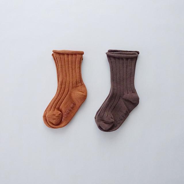ワイドリブ カラーソックス 2足セット [brown&orange]