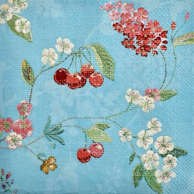 【PIP STUDIO】バラ売り1枚 ランチサイズ ペーパーナプキン HUMMINGBIRDS ブルー