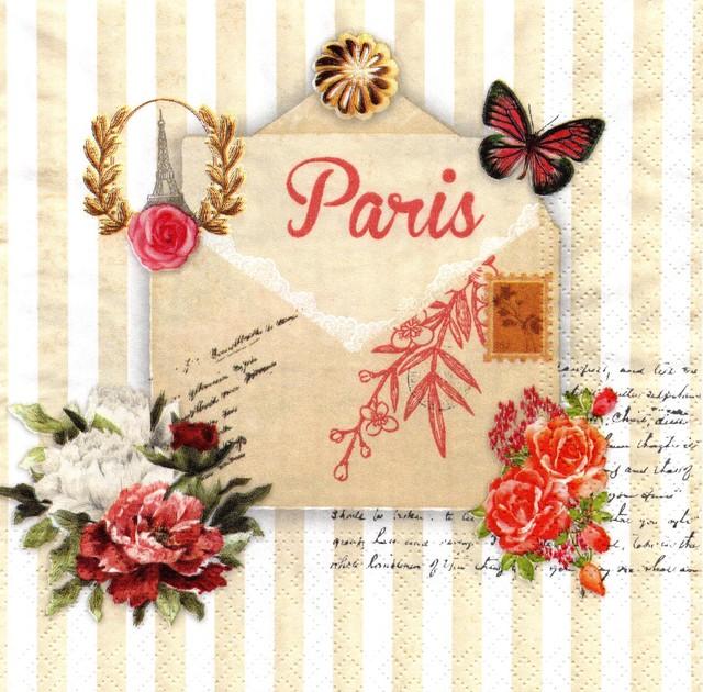 【Nouveau】バラ売り2枚 ランチサイズ ペーパーナプキン Lettre de Paris ベージュ