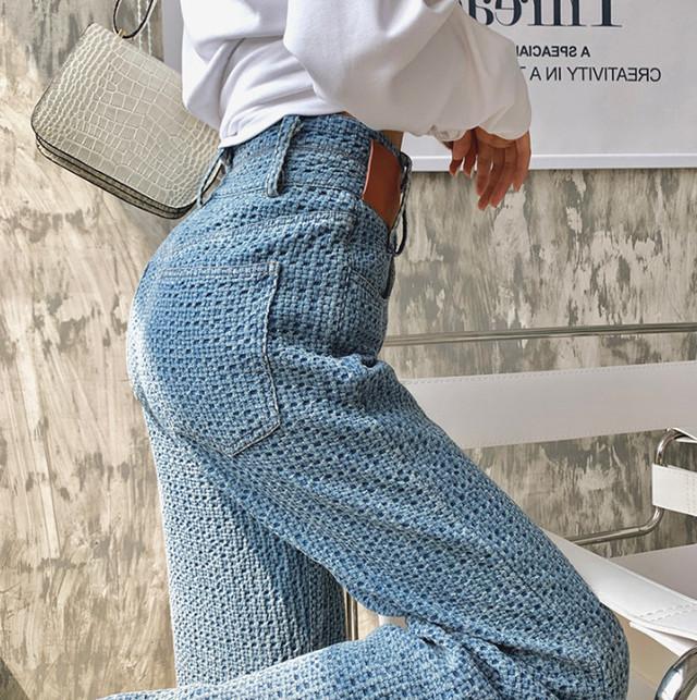 【ボトムス】存在感抜群ファッションハイウエストレギュラー丈デニムパンツ45574876