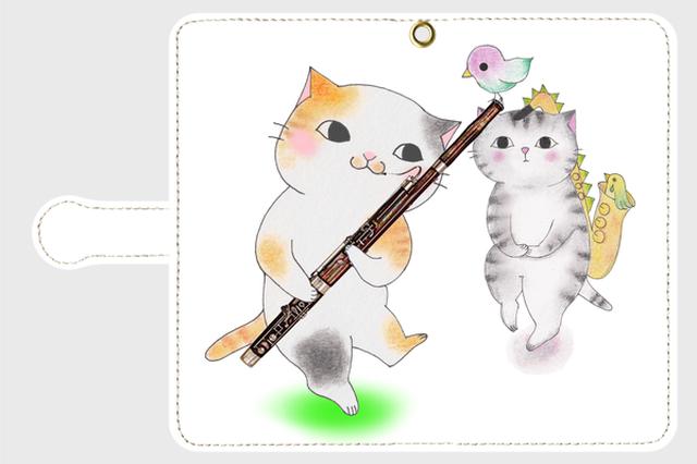 (Android用)ファゴット猫の手帳型スマホケース