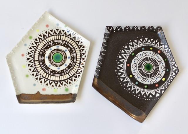五角板皿(太陽/夜空)