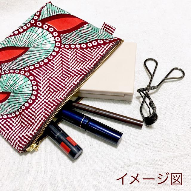 ポーチ アフリカンテキスタイル(日本縫製) 「パール」 レッド x ブラウン x ベージュ|アフリカ エスニック ガーナ布