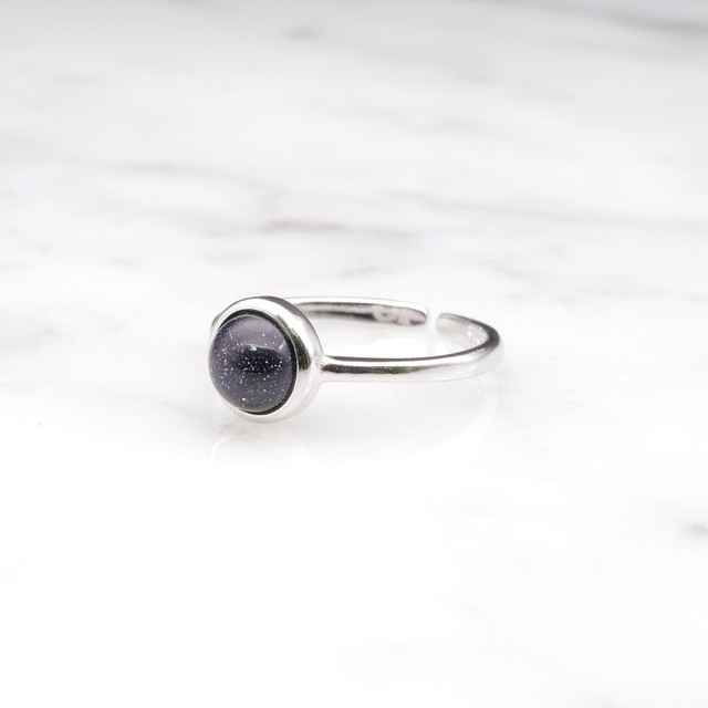 S925 SINGLE MINI PURPLE SAND STONE RING