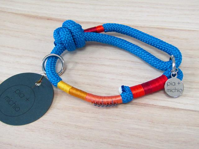 ドッグ首輪 ロープタイプ/ブルー【ブルーの中にオレンジやイエローがハッキリ映える!元気をくれる組み合わせカラーでHAPPYに!】【ハワイのデザイナーによる手づくり】【一点物】【オリジナル】【ハワイ】
