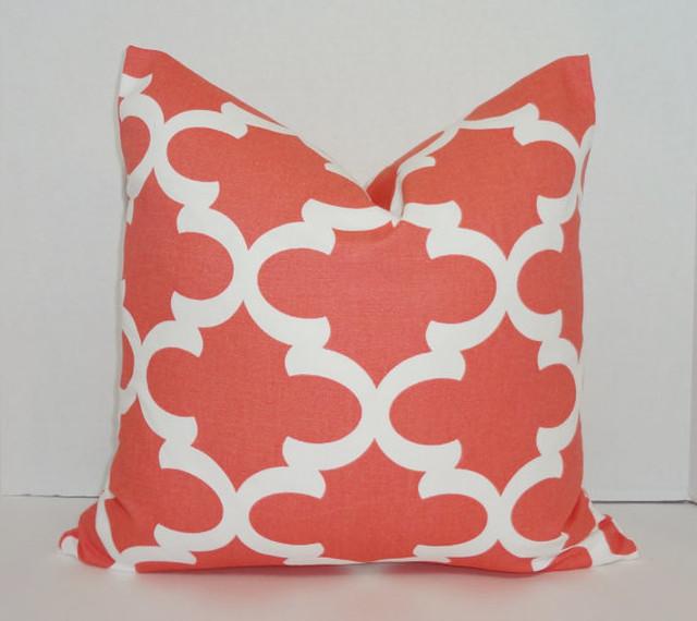 Coral & White Moroccan Geometric Print Decorative Cushion Cover