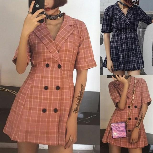 レディース チェック柄 ジャケット風 ワンピース ダブルボタン 半袖 シャツ 春コーデ 夏コーデ 秋コーデ / Retro Lattice Double Breasted Slim Short Sleeve A-Line Dress (DCT-552168019966)
