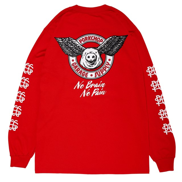 WING PORK L/S TEE/RED