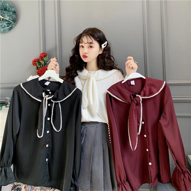 ブラウス 大きい襟 リボン イミテーションパール 韓国ファッション レディース トランペットスリーブ パフ袖 トップス ゆったり 大人可愛い ガーリー / Loose doll collar sweet chiffon shirt (DTC-625236668672)