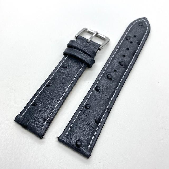 クラシック オーストリッチ型押し カーフストラップ ダークグレー(ホワイトステッチ)  20mm クイックリリース付き 腕時計ベルト