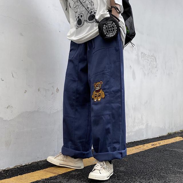 【ボトムス】デニム図柄キュートカジュアルシンプル男女兼用パンツ34117856
