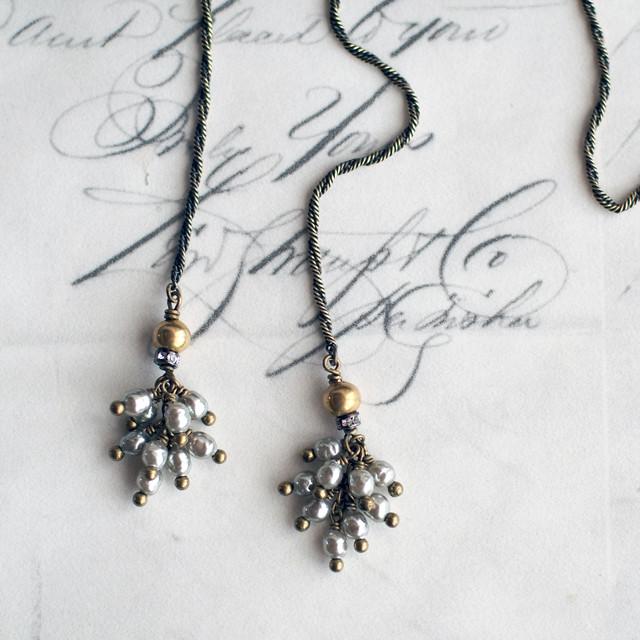 カーテンコール / タッセルラリエット ネックレス (GlassPearl・SilverS)