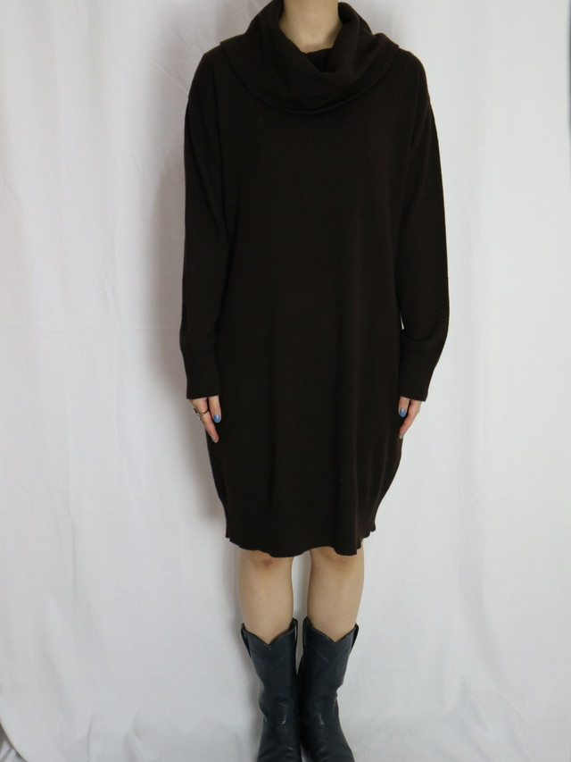 turtle neck knit dress 【5095】