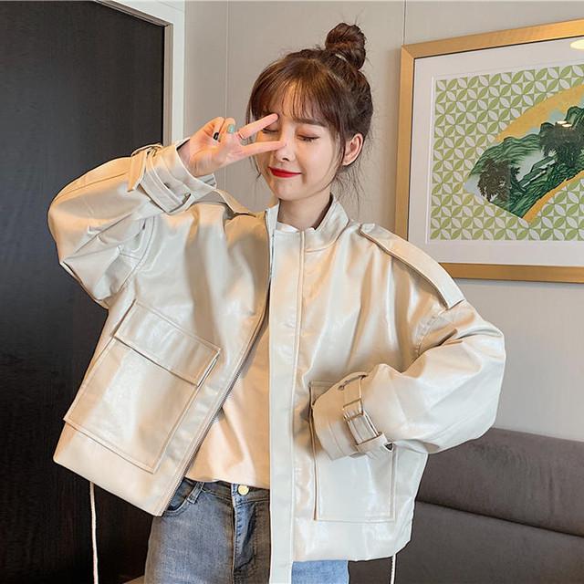 【送料無料】メンズっぽ♪スタンドカラージャケット♡ジャケット スタンドカラー メンズライク エコレザー トレンド