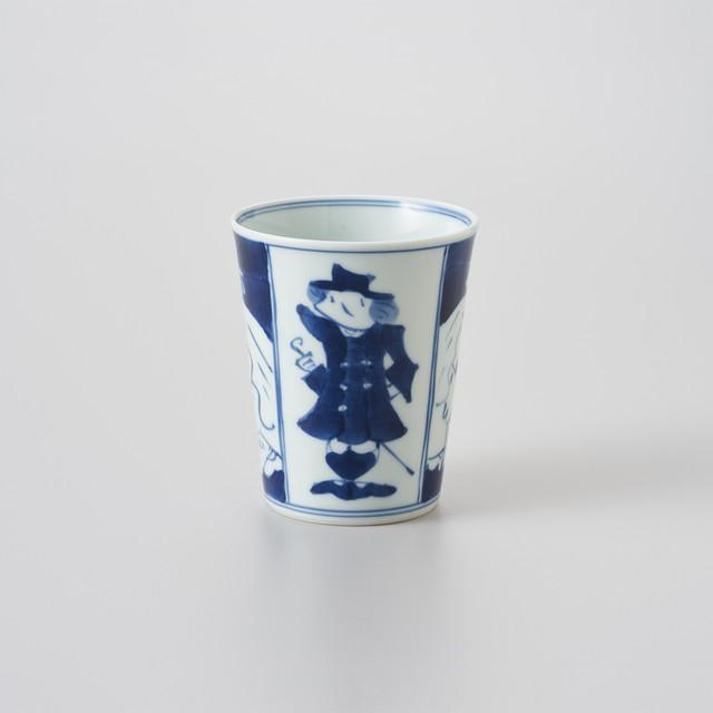 【青花】四方異人 ミルクカップ(大)