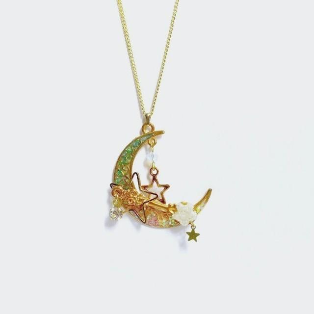 輝く星をひと掬いネックレス (黄)