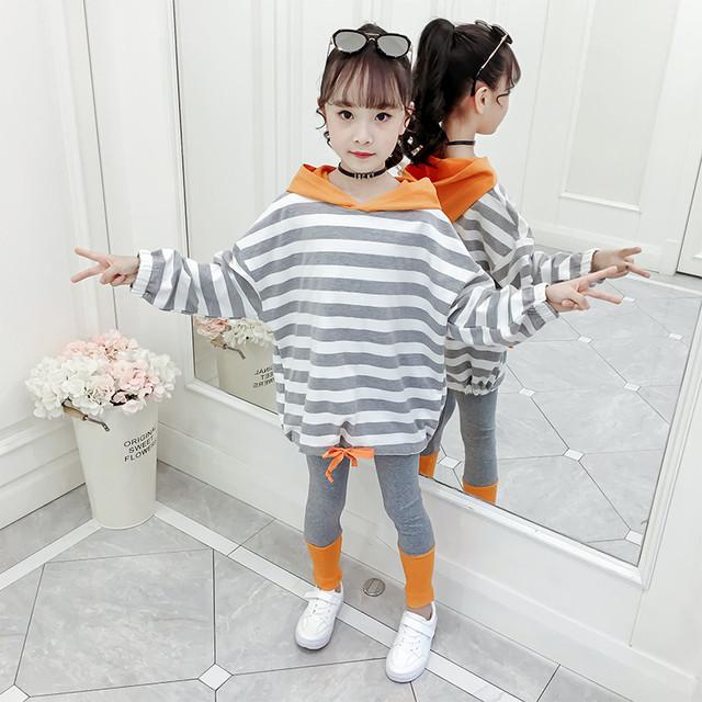 【セット】シンプル韓国系ストライプ柄フード付き女の子二点セット25596529