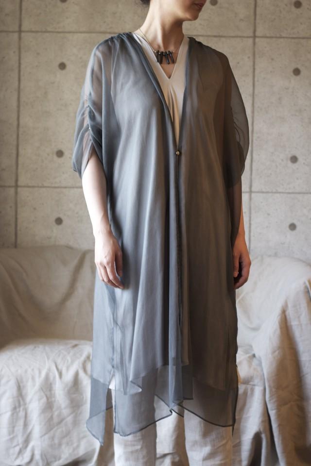 Silk chiffon dress  シルクシフォン-ハイネックドレス(Grey)