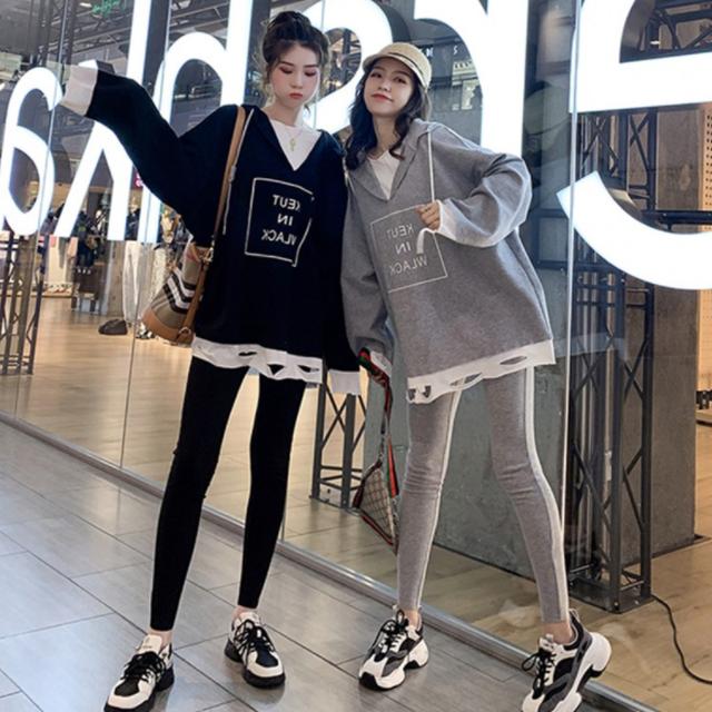【セット】韓国系スボーツ系長袖無地切り替えアルファベットパーカー+パンツ50580258