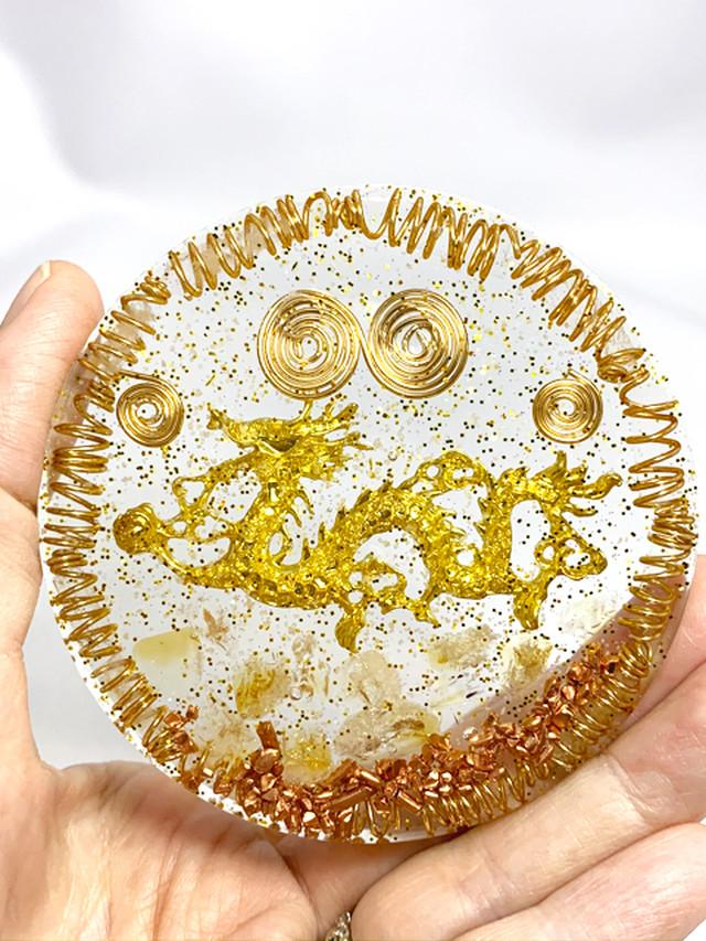 波動が高い!!円型 龍のオルゴナイト~金運アップ【ゴールドルチル・シトリン・水晶】