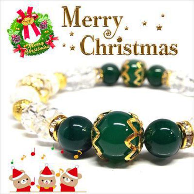 【Happy Xmas♪】天然石グリーンメノウ&クラック水晶 クリスマスデザインブレスレット(10mm)★