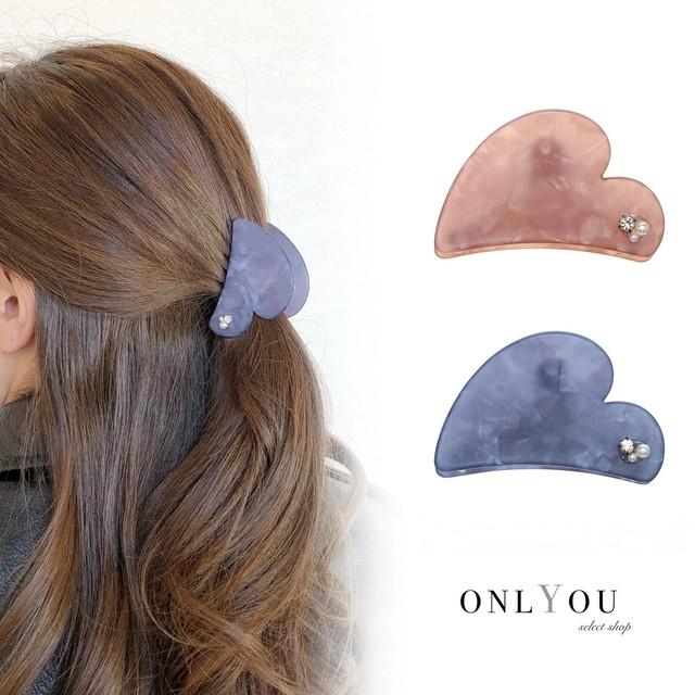 ヘアアクセサリー バンスクリップ ヘアクリップ ヘアレンジ 簡単 まとめ髪 ハート Mサイズ マットハートバンスクリップ