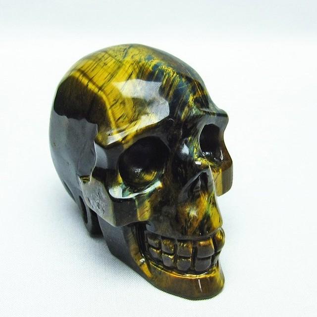 イエロータイガーアイ 手彫り-卓上置物-ドクロ-スカル 送料無料 154-20