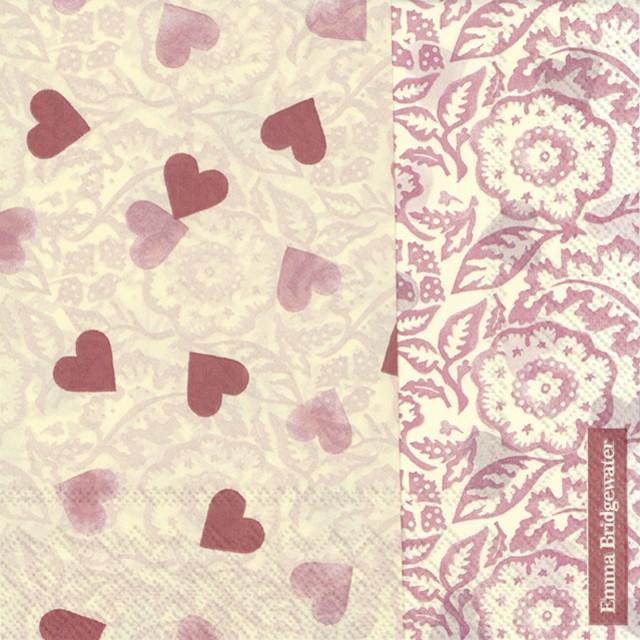 入荷しました|完売再入荷【Emma Bridgewater】バラ売り2枚 ランチサイズ ペーパーナプキン PINK HEARTS ピンク
