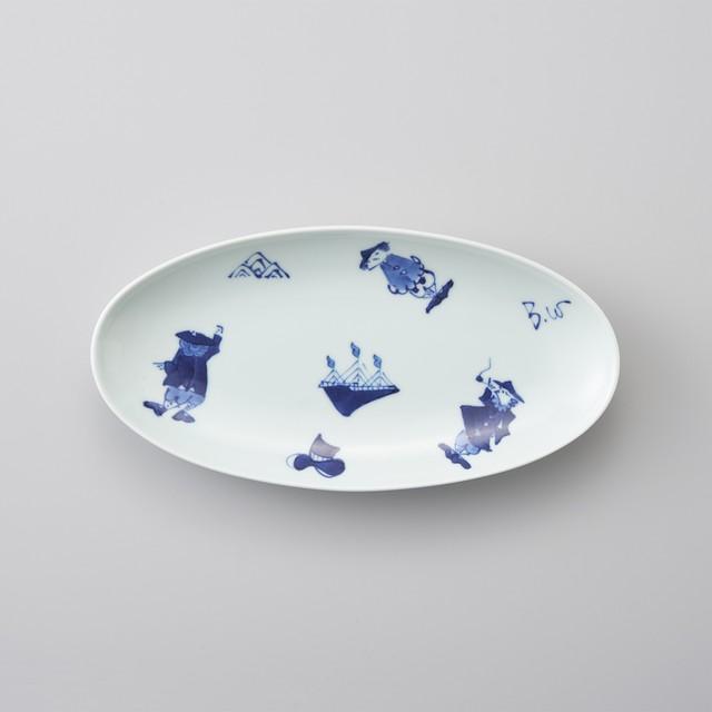 【青花】異人づくし 小判焼皿