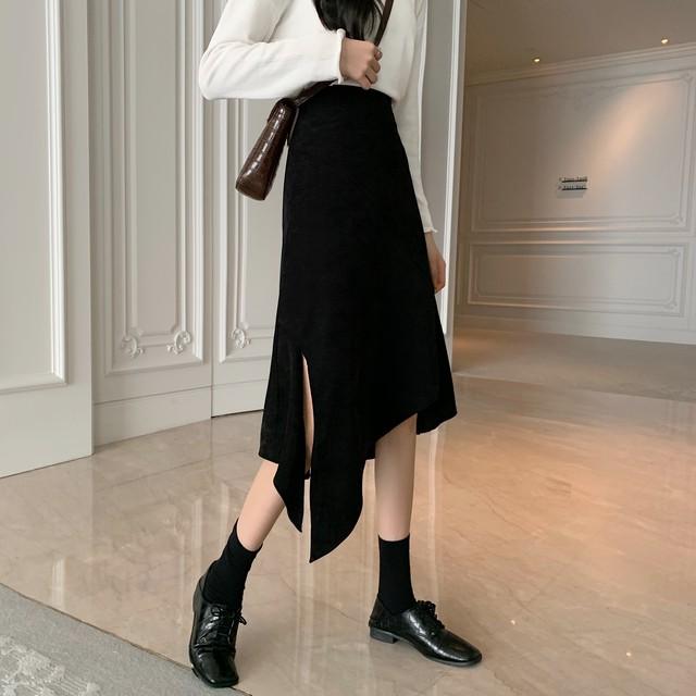 【3/12まで30%OFF!!】 レトロ ハイウエスト ミドル スリットデザイン  スカート 2色 B6299