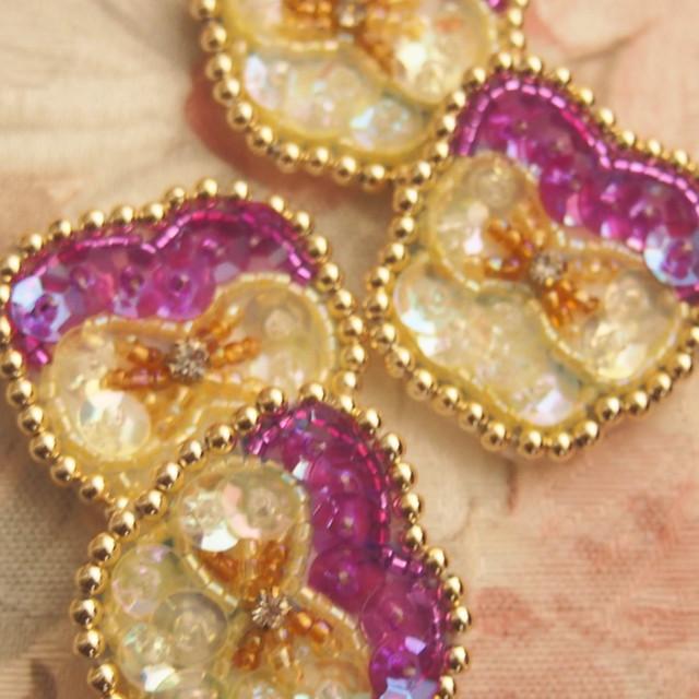 【受注製作】ビオラの花飾り(ブローチ、ヘアピン、ヘアゴム、リング)