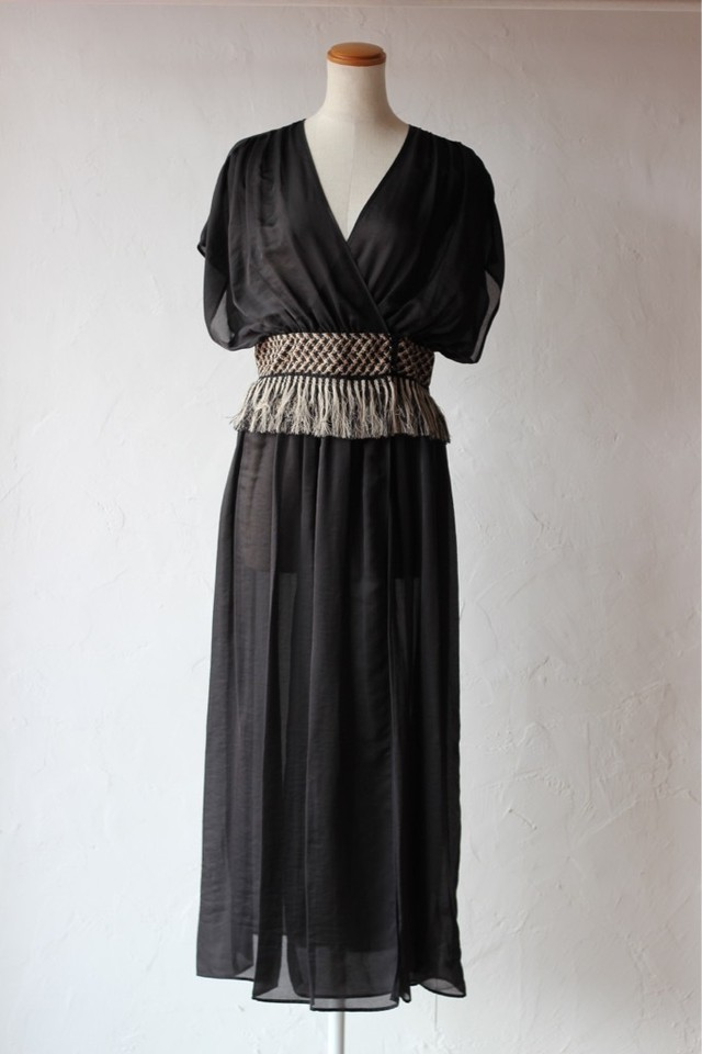【EBONY】chiffon fringe dress-black