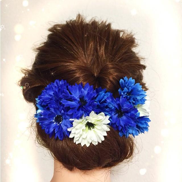 【花の髪飾り】ブルーとホワイトの可愛い髪飾り☆結婚式や浴衣姿、祭り着姿にも