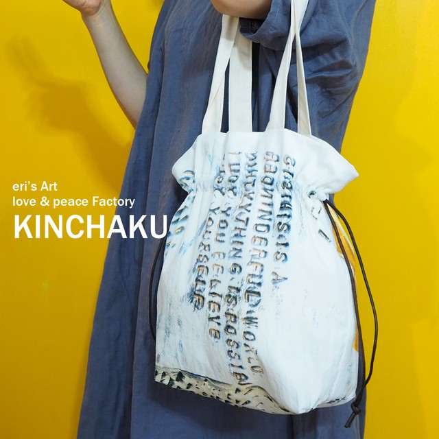 【Original Art Fabric】巾着バッグ ILL-bag-01