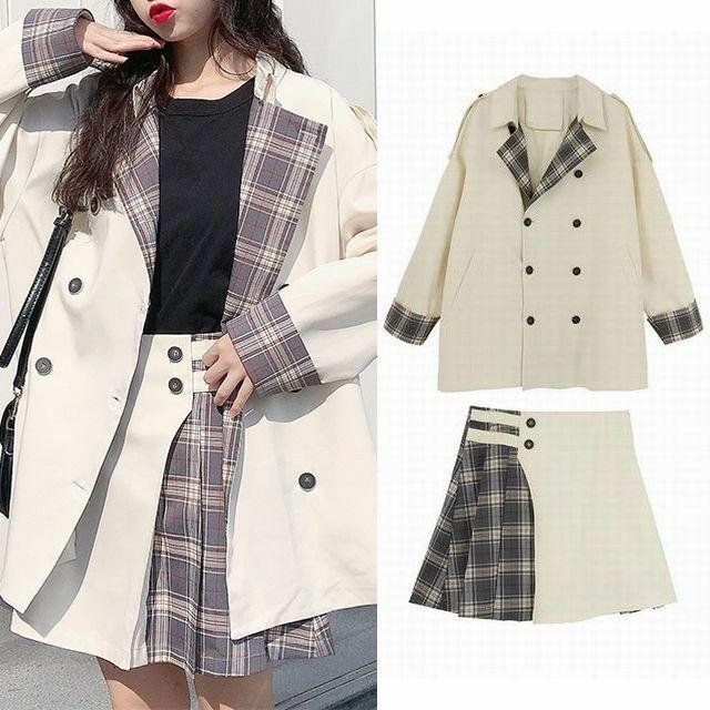 レディース セットアップ ジャケット スカート バイカラー チェック ダブルブレスト ミニ丈 ホワイト 大人カジュアル 韓国 韓国ファッション / Lattice stitch loose jacket + half skirt (DTC-601023676771)
