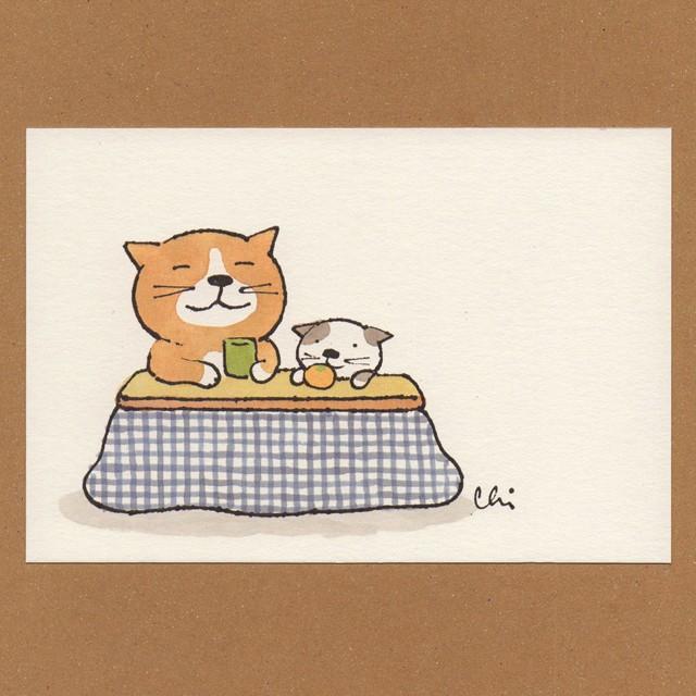 冬のポストカード[NWPC-16]こたつおやこ