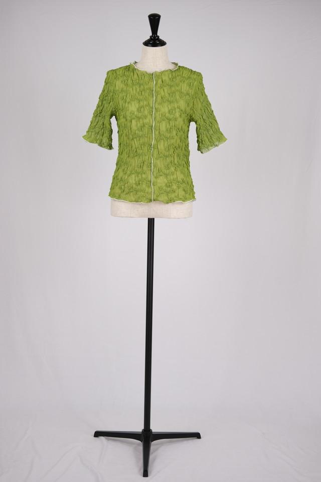 【MURRAL】sheer crumpled top - bright green