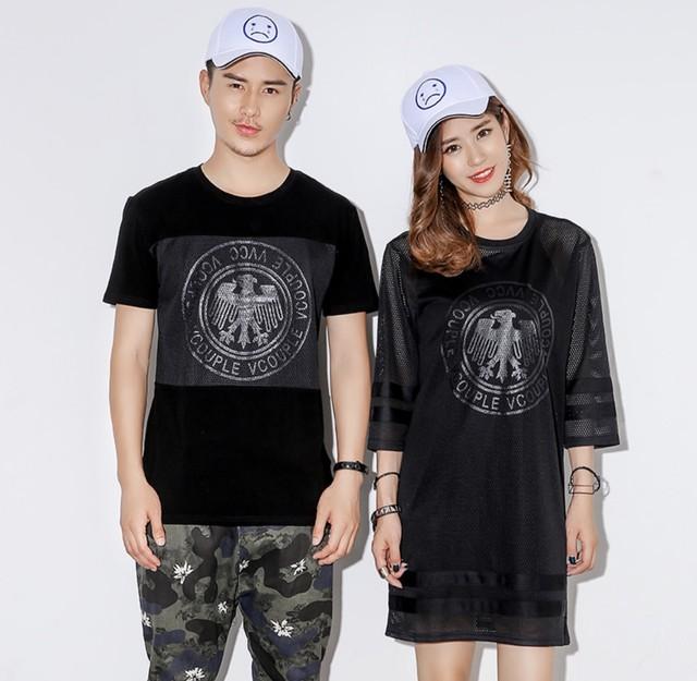 カップル リンクコーデ 半袖Tシャツワンピース Tシャツ 0170