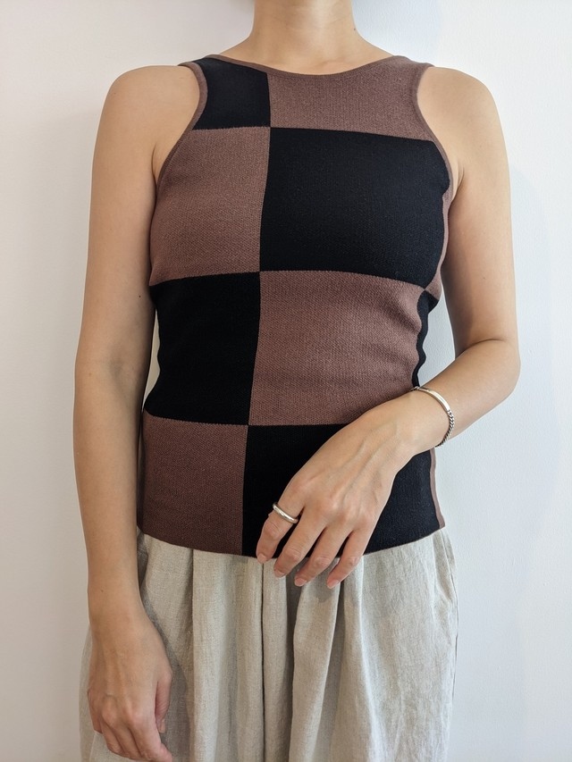 Checkered Knit Tank - Brown