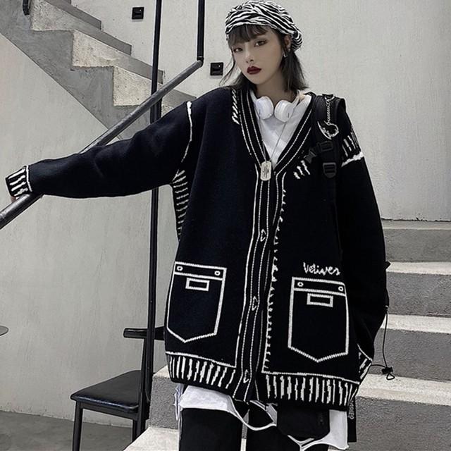 【トップス】裏起毛ストレートスカート韓国系レトロVネックニットセーター36224714