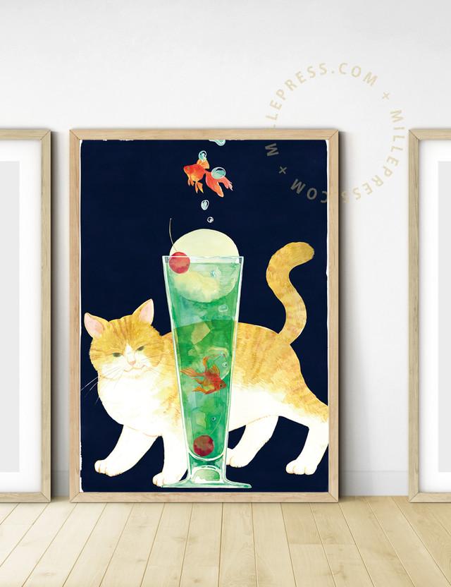 "【Cat and delicious time ""melon soda""】 MP153-017C"