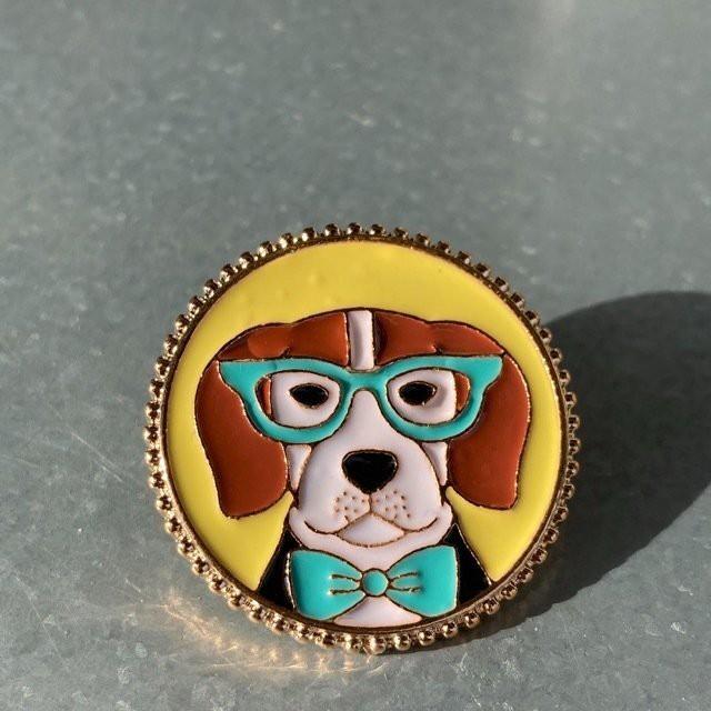 TOPANGA Accessory 眼鏡と犬ブローチ ビーグル