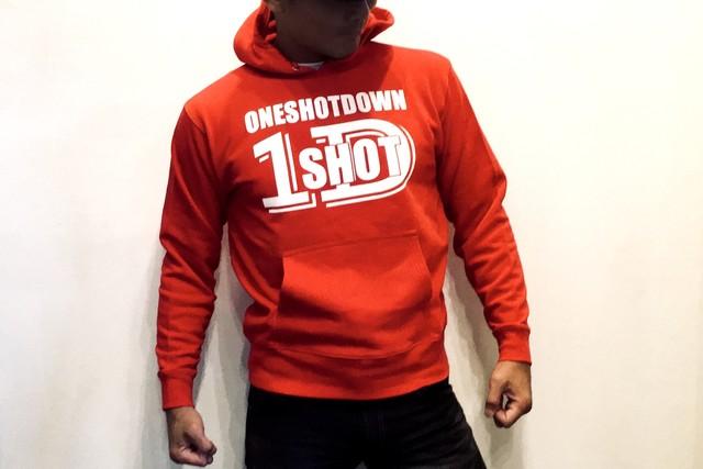 ONESHOTDOWN ロゴ プルオーバーパーカー