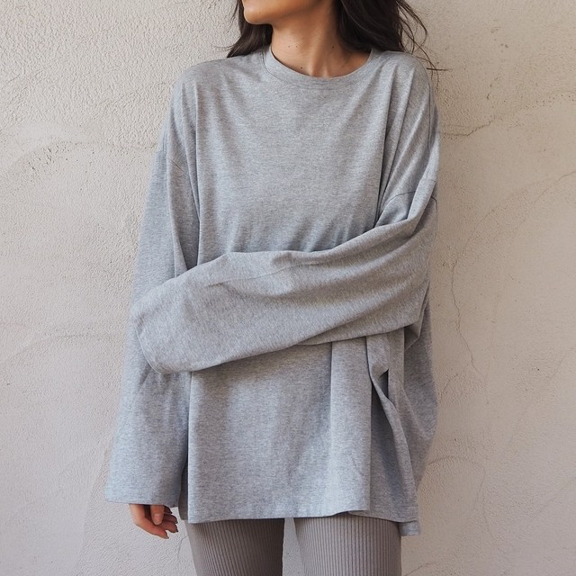 Over-sized Slit L/S Tee《GRY/BLK》19383111