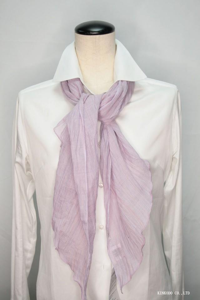 能登上布 麻100% ショートストール 万筋 縞 淡紅紫