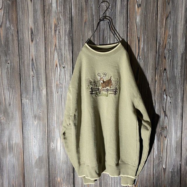 [used]deer embroidery sweat