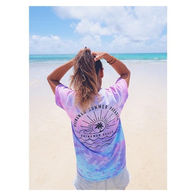 OKINAWAN BEACH ➡︎ back print T shirt Nami