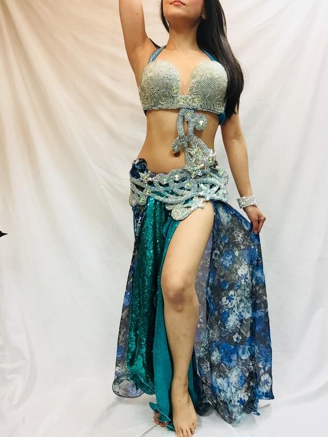 エジプト製 ベリーダンス衣装 ターキッシュスタイル スパンコールブルー
